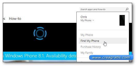 Avvio Applicazione Find My Phone su Windows Phone