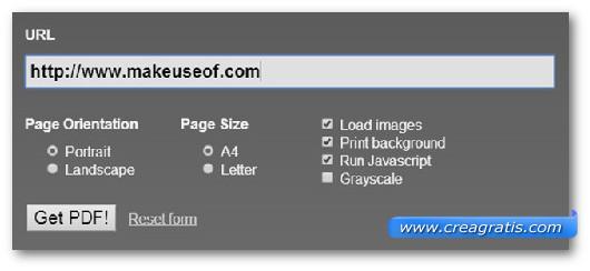 Schermata dello strumento online HTML to PDF