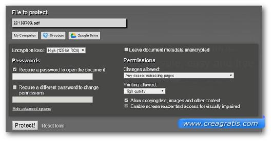 Schermata dello strumento online PDF Protect