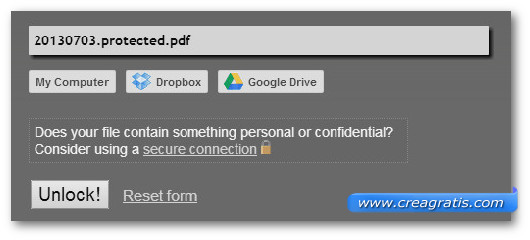 Schermata dello strumento online PDF Unlock