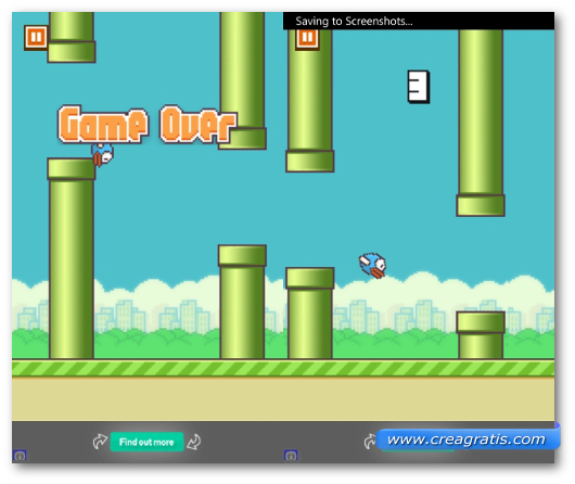 Schermata del gioco Flappy Bird per Windows Phone