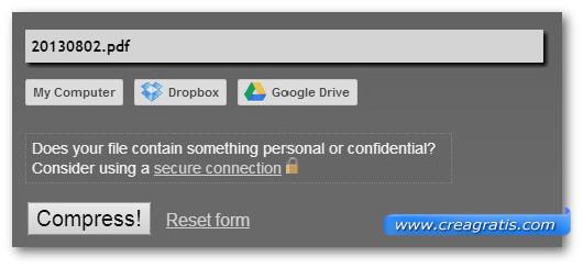 Schermata dello strumento online PDF Compress