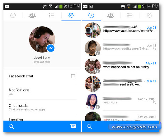Schermate dell'app Facebook Messenger per Android