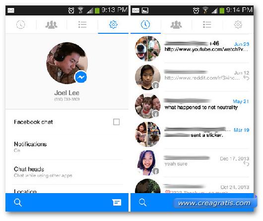 Schermate dell'app Facebook Messenger per Android
