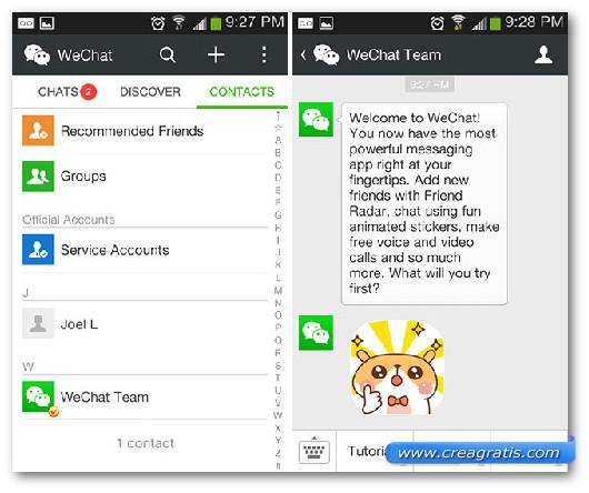 Schermata dell'app WeChat per Android