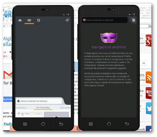 Schermate della navigazione anonima con Firefox su Android