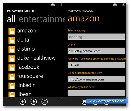 Schermate dell'app Password Padlock per Windows Phone