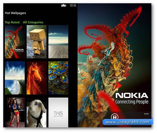 Schermate dell'app Wallpaper per Windows Phone