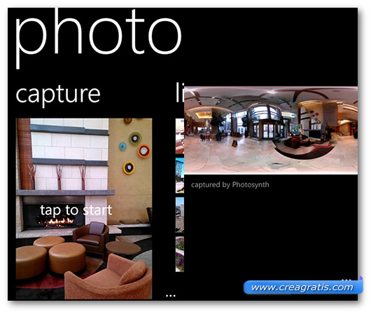 Schermate dell'app Photosynth per Windows Phone