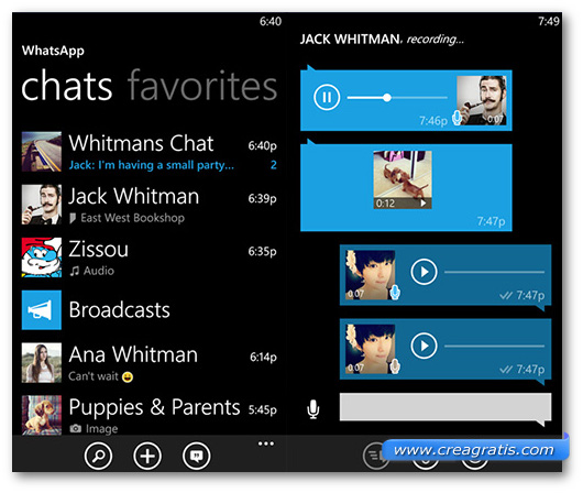 Schermate dell'app WhatsApp per Windows Phone