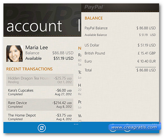 Schermate dell'app Paypal per Windows Phone