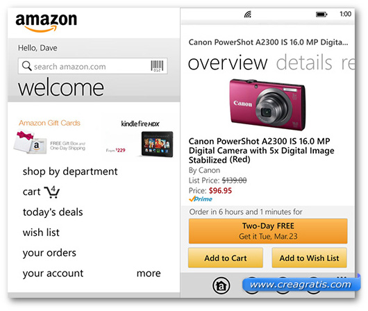 Schermate dell'app Amazon per Windows Phone