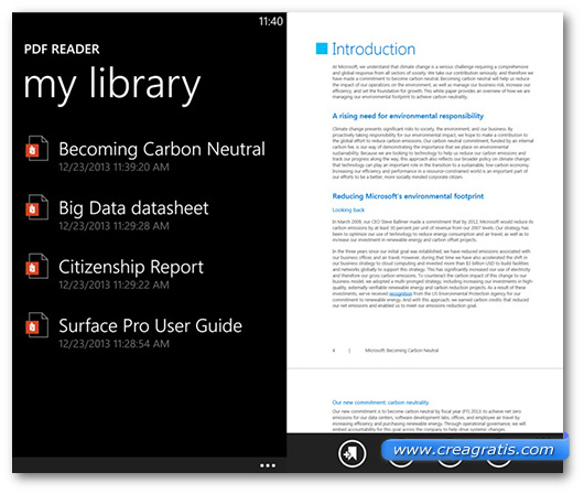 Schermate dell'app PDF Reader per Windows Phone