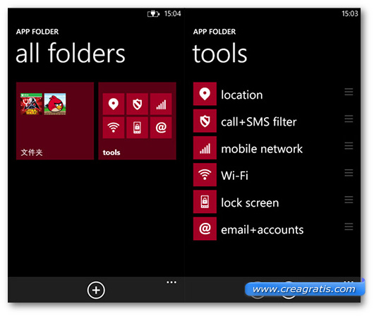 Schermate dell'app App Folder per Windows Phone
