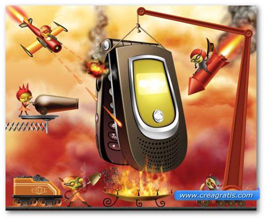 Immagine metaforica di uno smartphone attaccato dai virus