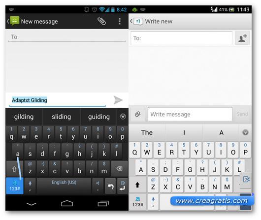 Schermate della tastiera Adaptxt Keyboard per Android