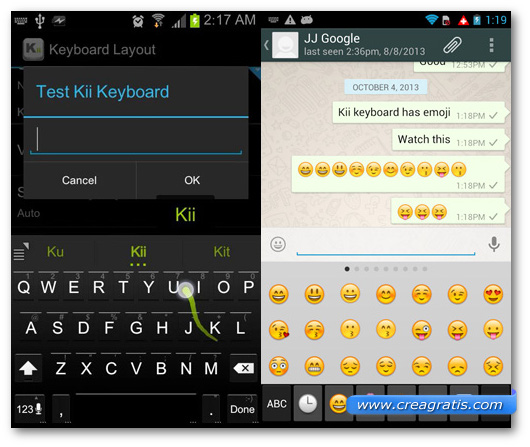 Schermate della tastiera Kii Keyboard per Android