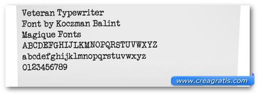 Immagine del font Veteran Typewriter