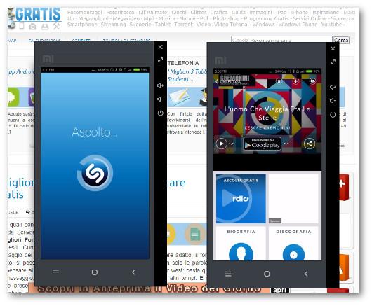 Schermate dell'applicazione Shazam