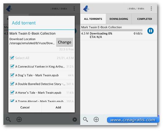 Schermate dell'app Vuze per Android
