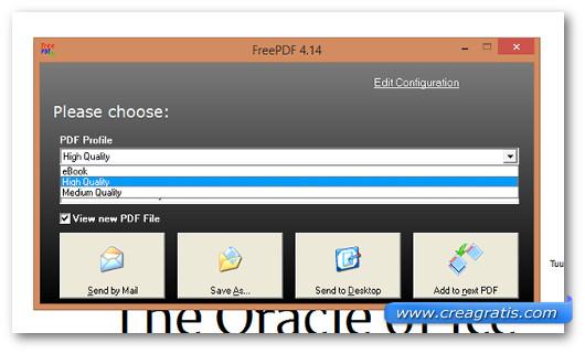 Interfaccia del programma FreePDF