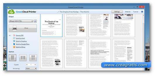 Interfaccia del programma GreenCloud Printer