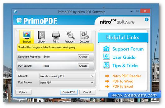 Interfaccia del programma PrimoPDF
