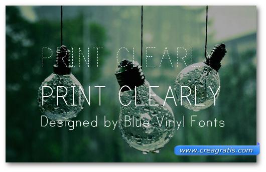 Esempio del font Print Clearly