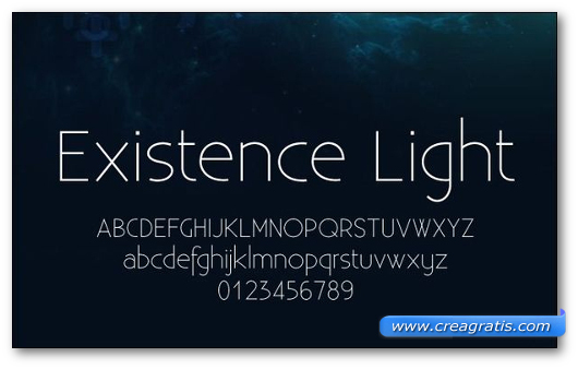 Esempio del font Existence Light