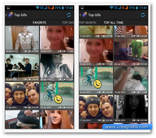 Schermate dell'app GIF Creator per Android