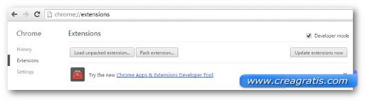 Schermata per installare un'estensione su Chrome