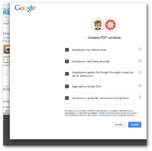 Lista dei permessi richiesti da Notable PDF
