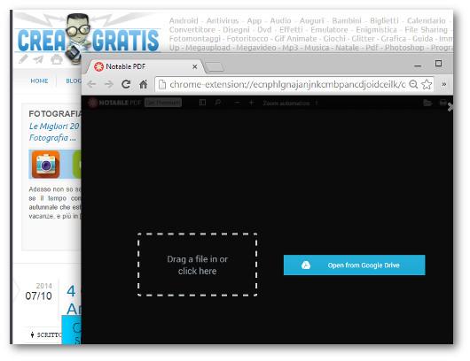 Prima schermata per la modifica di PDF con Chrome