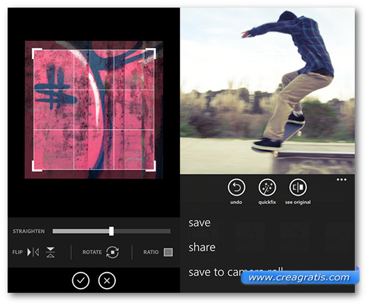 Schermate dell'app Photoshop Express per Windows Phone