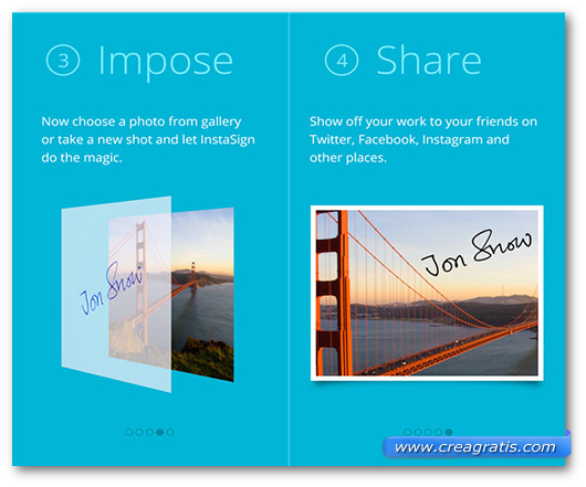 Schermate dell'app InstaSign per Windows Phone