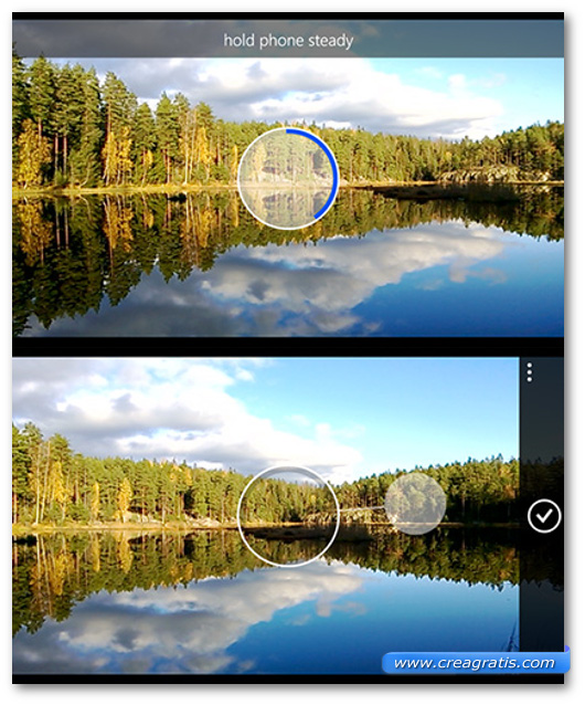 Schermate dell'app Nokia Panorama per Windows Phone