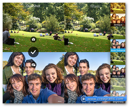 Schermate dell'app DualShot per Windows Phone
