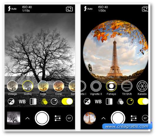 Schermate dell'app ProCam 2 per iPhone 6