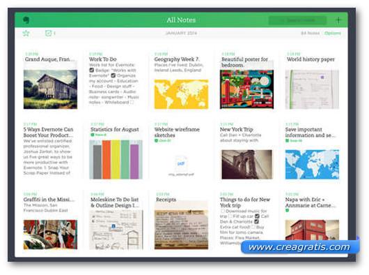 Schermata dell'app Evernote per iPhone 6