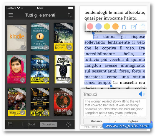 Schermate dell'app Kindle per iPhone 6
