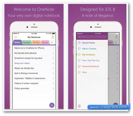 Schermate dell'app Microsoft OneNote per iPhone 6