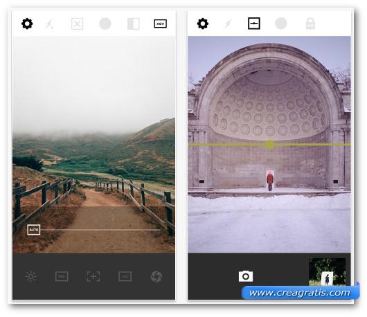 Schermate dell'app VSCO Cam per iPhone 6