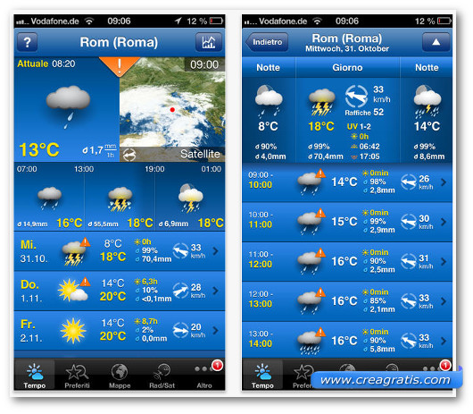 Schermate dell'app WeatherPro per iPhone 6