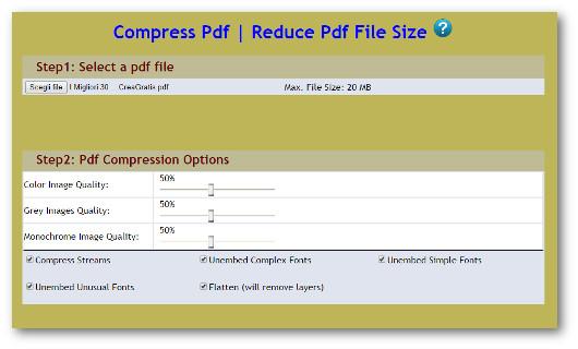 Schermata del sito PDFaid per comprimere file PDF