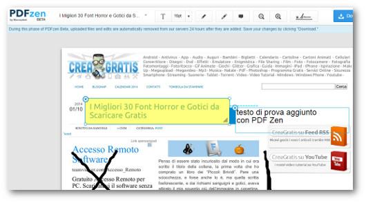 Schermata del sito PDFZen per modificare PDF
