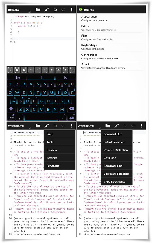 Schermate dell'app Quoda per Android