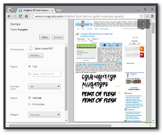 Schermata di Chrome per creare PDF