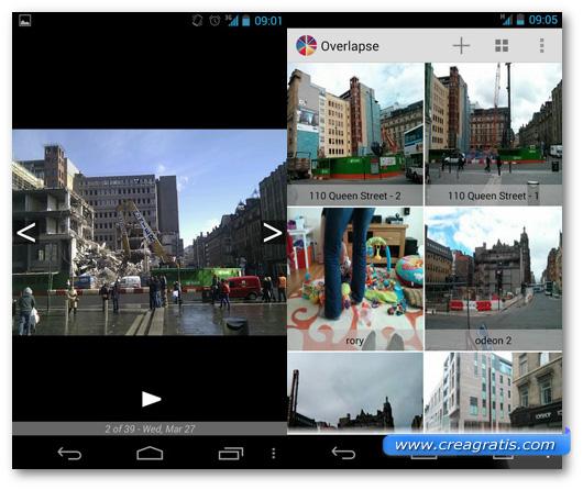 Schermate dell'app Overlapse per Android