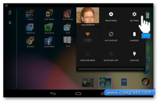 Accesso alle impostazioni da Nexus 7