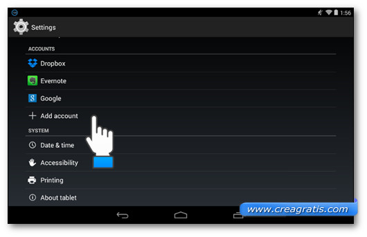 Aggiungere account Google su Nexus 7